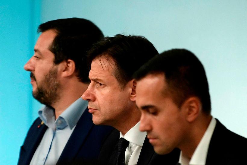 Þrír ráðherrar í ríksstjórn Ítalíu: Luigi Di Maio, Giuseppe Conte ...