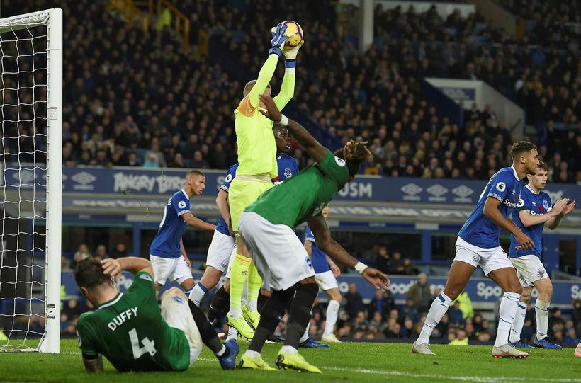 Frá leik með Everton.