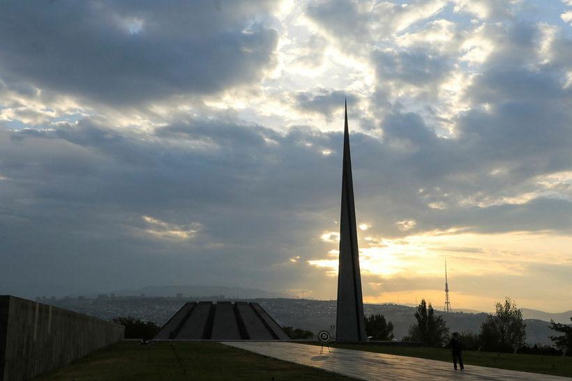 Minnismerki um þjóðarmorð Tyrkja á Armenum í Jerevan, höfuðborg Armeníu.