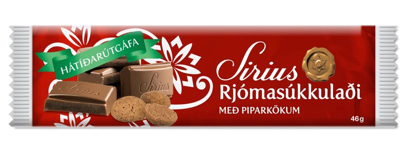 "The classic Siríus milk chocolate, now with bits of ""piparkökur"" ..."