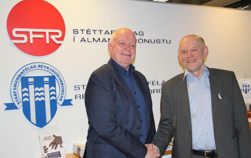 Garðar Hilmarsson, formaður Starfsmannafélags Reykjavíkurborgar, og Árni Stefán Jónsson, formanni ...