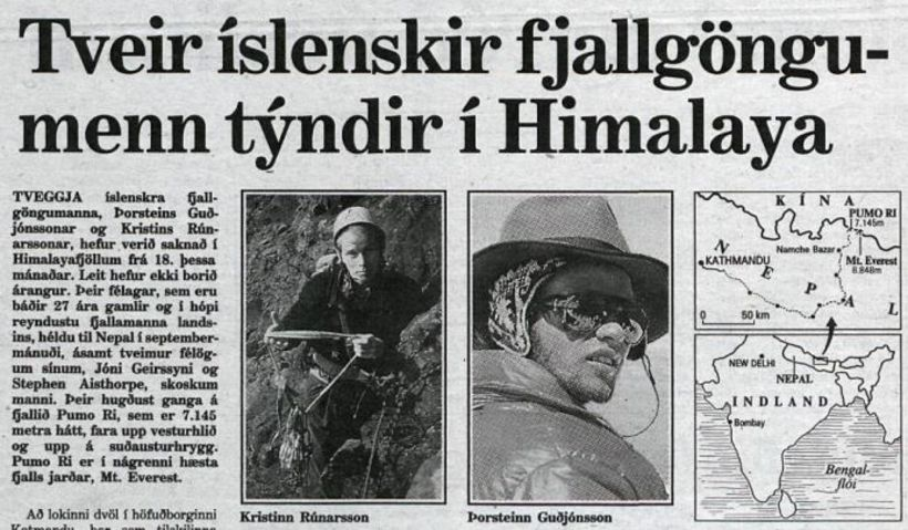 Reports of the missing mountaineers hit headlines in Iceland.