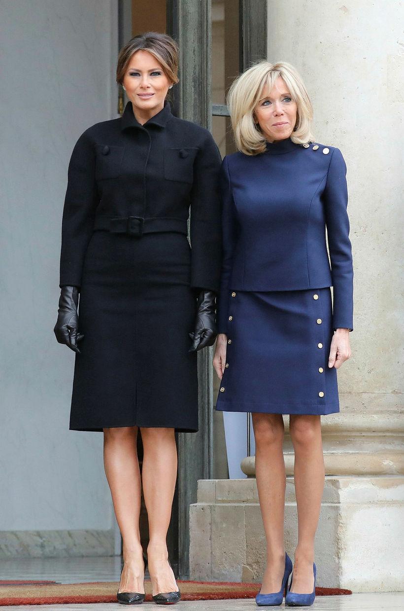 Melania Trump og Brigitte Macron voru í stíl.