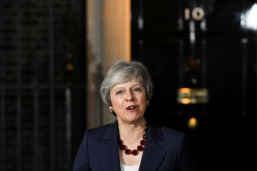 Theresa May á blaðamannafundi.