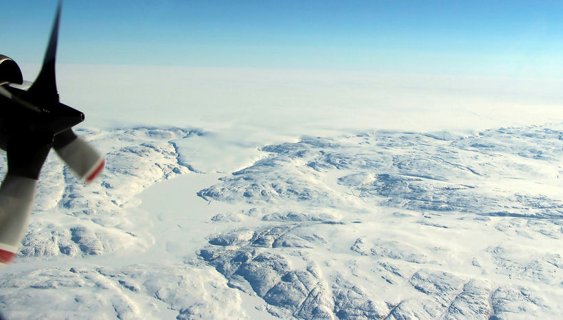 Frá svæðinu sem um ræðir á Hiawatha-jökli á Grænlandi.