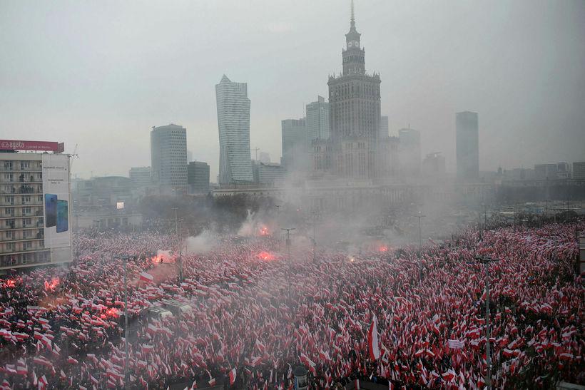 Frá göngunni í Varsjá 11. nóvember.