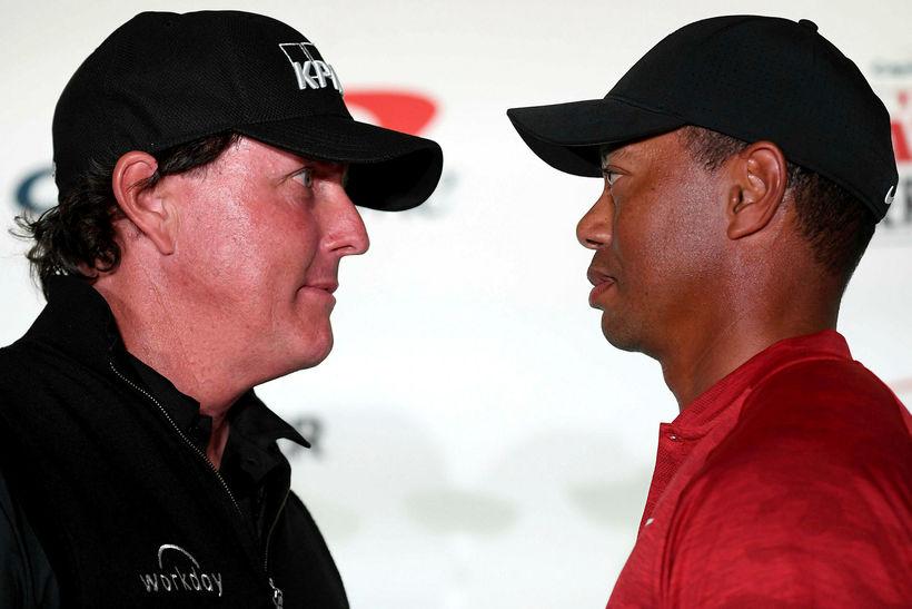 Phil Mickelson og Tiger Woods mættust í sérstöku einvígi í ...