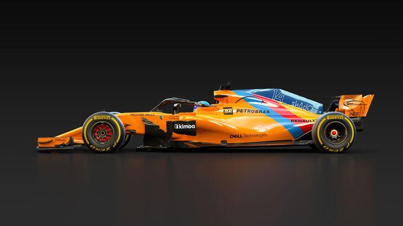 Hinn einstaki McLarenbíll Alonso í kappakstrinum í Abu Dhabi.