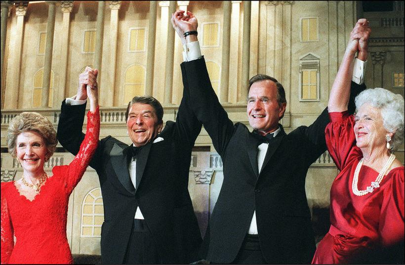 Nancy og Ronald Reagan, George H.W. Bush og Barbara Bush.
