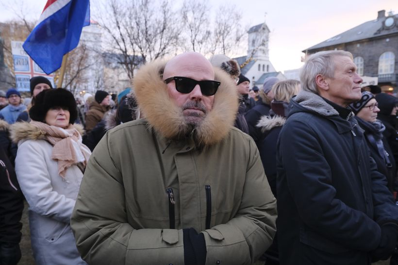 Bubbi Morthens at the protest today.