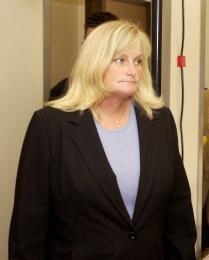 Debbie Rowe, fyrrum eiginkona Jacksons. Þau eignuðst tvö börn saman.