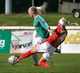 Greta Mjöll Samúelsdóttir sækir hér að marki eins og hún ...