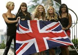 Kryddpíurnar: Victoria Beckham, Melanie Chisholm, Gerri Halliwell, Emma Bunton og ...