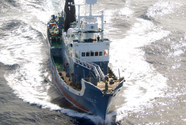 Japanska hvalveiðiskipið Yushin Maru.