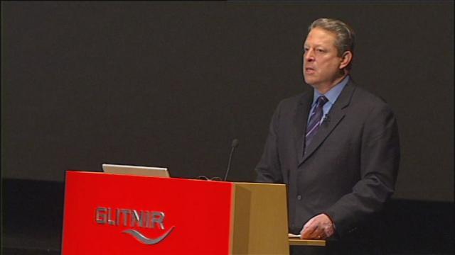 Al Gore í Háskólabíói í morgun.