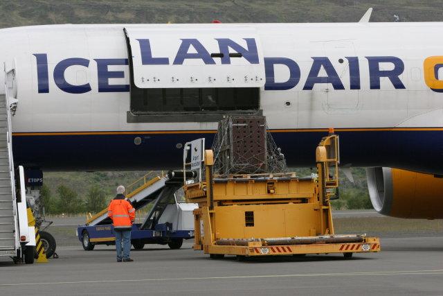 Búrið, sem dýrið verður sett í, flutt úr vél Icelandair ...