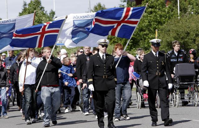 Frá hátíðarhöldum á Blönduósi í dag