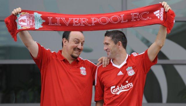 Keane ásamt Rafael Benitez knattspyrnustjóra Liverpool.