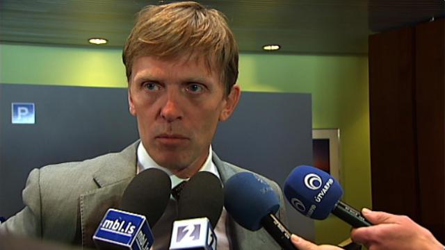 Óskar Bergsson í Ráðhúsi Reykjavíkur í morgun.
