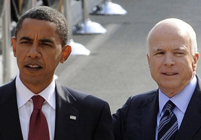 Barack Obama og John McCain.