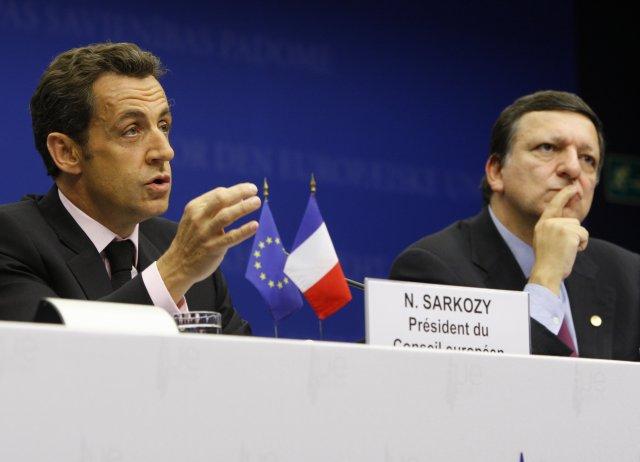 Nicolas Sarkozy, forseti Frakklands, og Jose Manuel Barroso, forseti framkvæmdastjórnar ...
