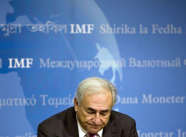 Dominique Strauss-Kahn, framkvæmdastjóri IMF, á blaðamannafundi í Washington.