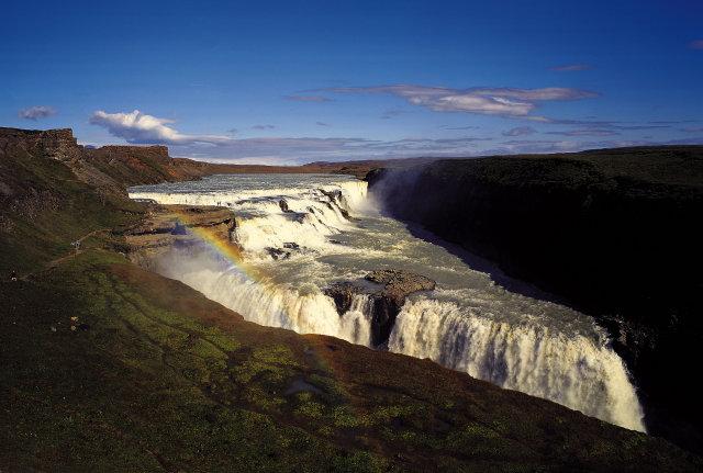 Gullfoss er eitt frægasta kennileiti Íslands.