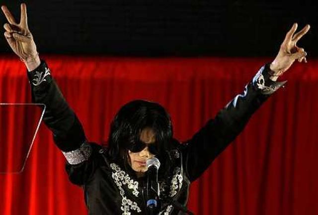 Michael Jackson á blaðamannafundi í Lundúnum nýlega.