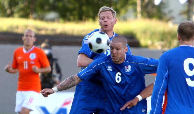 Grétar Rafn Steinsson var fyrirliði Íslands í dag.