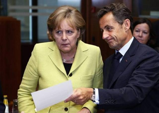 Angela Merkel ásamt Nicolas Sarkozy, Frakklandsforseta.