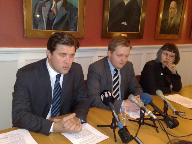Bjarni Benediktsson, Sigmundur Davíð Gunnlaugsson og Birgitta Jónsdóttir