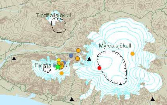 Græna stjarnan á kortinu á vef Veðurstofunnar sýnir hvar skjálftinn ...
