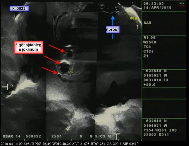 Radarmynd af Eyjafjallajökli þar sem sjá má gígopið á jöklinum. ...