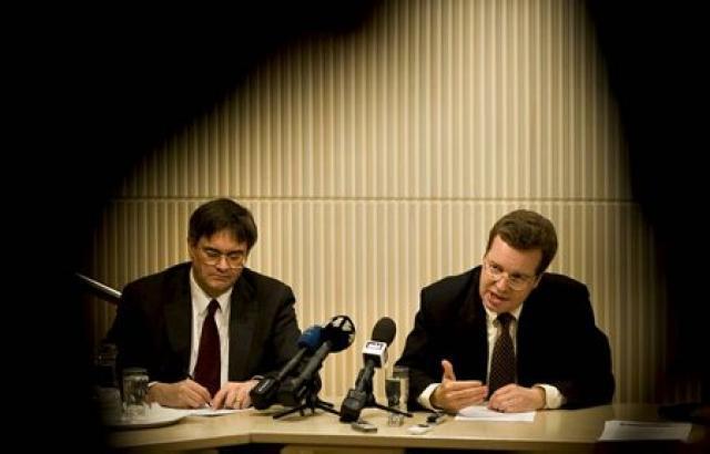 Franek Rozwadowski (t.h.) og Mark Flanagan, fulltrúar Alþjóðagjaldeyrissjóðsins gagnvart Íslandi.