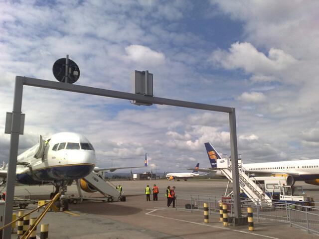 Boeing-vélar frá Icelandair á flugvellinum í Glasgow í morgun.