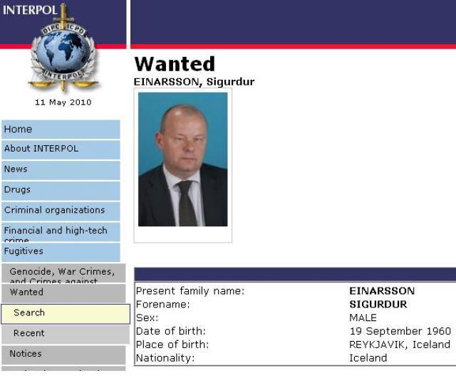 Sigurður Einarsson er eftirlýstur á vef Interpol.