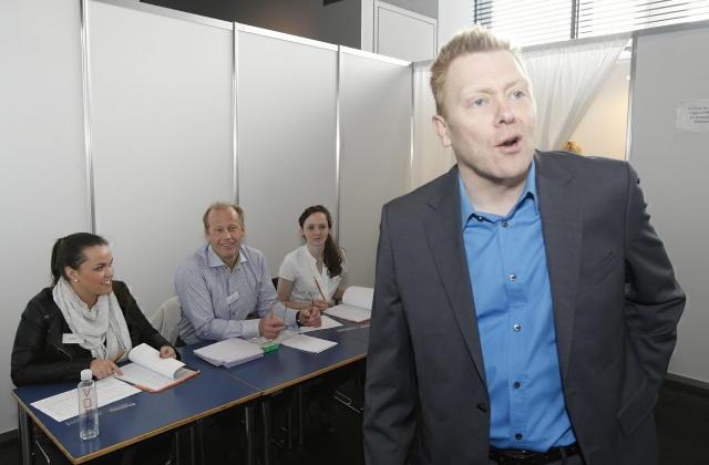 Jón Gnarr, leiðtogi Besta flokksins, kaus í Ráðhúsinu.
