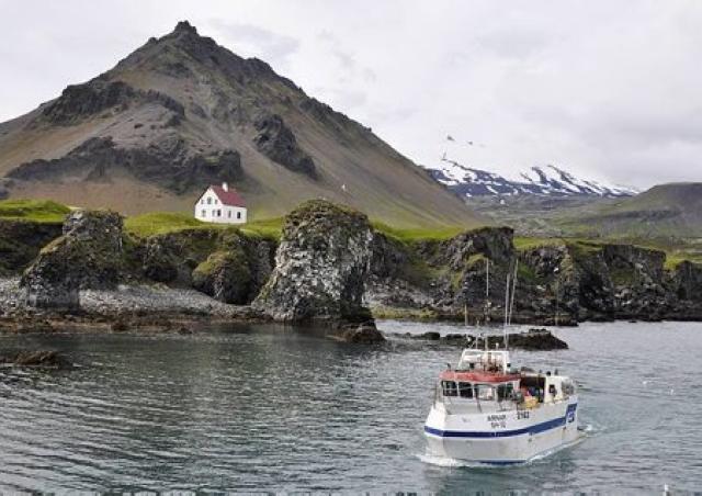 Strandveiðibátur við Arnarstapa.