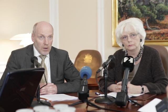 Steingrímur og Jóhanna á blaðamannafundi í stjórnarráðinu í dag.