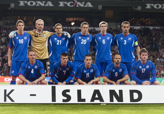 Byrjunarlið Íslands í leiknum á móti Danmörku.
