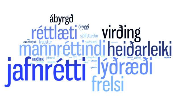 Jafnrétti, lýðræði, mannréttindi, virðing og ábyrgð er meðal helstu gilda ...