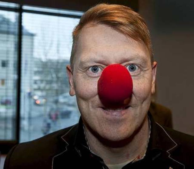 Jón Gnarr borgarstjóri með rautt nef.