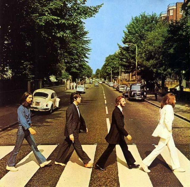 Myndin á umslagi Abbey Road.