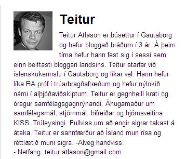 Prófíll Teits á bloggsíðu hans.
