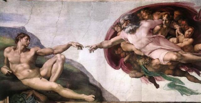Málverk Michelangelos af sköpun Adams. 18% þátttakenda í könnuninni trúir ...