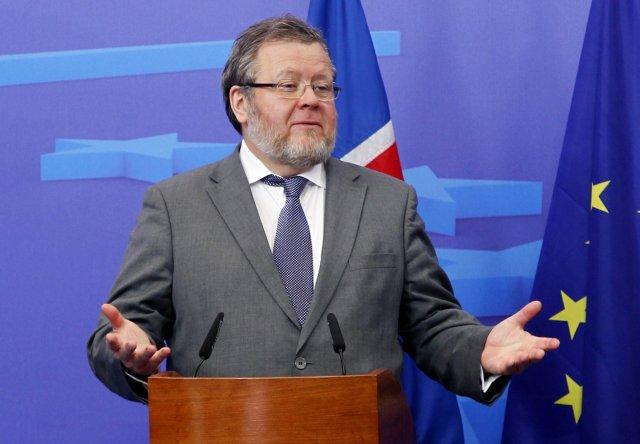 Össur Skarphéðinsson, utanríkisráðherra á blaðamannafundi í Brussel í dag.
