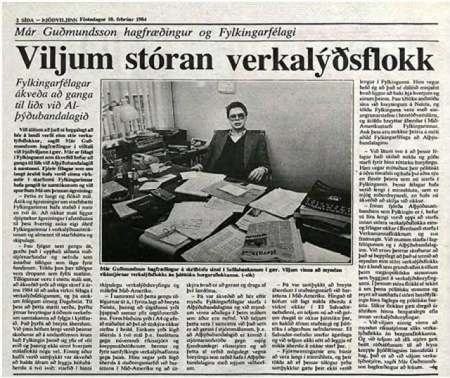 Már upplýsir í Þjóðviljanum árið 1984 að félagar í Fylkingunni ...