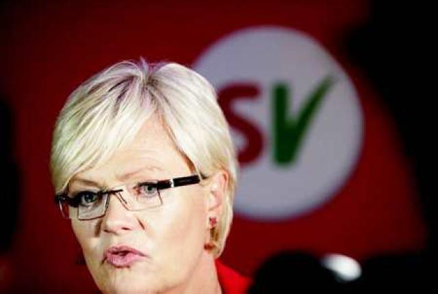 Kristin Halvorsen á kosningavöku Sósíalíska vinstriflokksins í kvöld.
