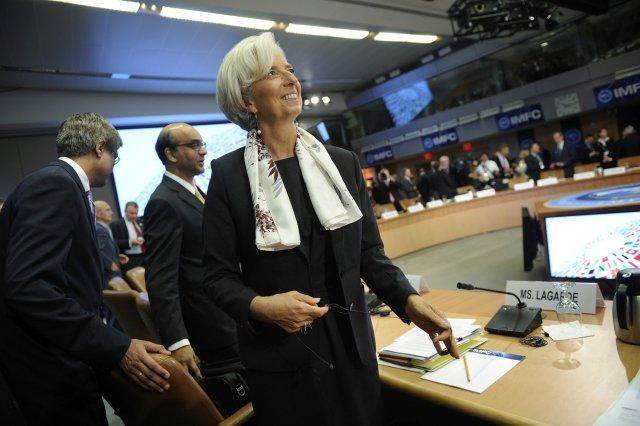 Christine Lagarde, framkvæmdastjóri Alþjóðagjaldeyrissjóðsins, á ársfundinum í dag.