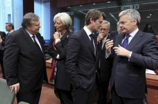 Fjármálaráðherrar evruríkjanna í Brussel í dag. Christina Lagarde, framkvæmdastjóri Alþjóðagjaldeyrissjóðsins ...